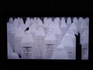 Benedek Lakatos' prämierte Bilder aus Srebrenica werden nacheinander mithilfe eines Monitors präsentiert.
