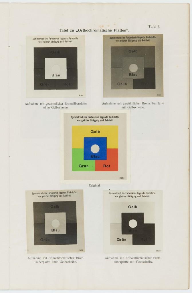 """Tafel zu """"Orthochromatische Platten"""", aus: Alfred Thiel, Lehrbehelf für Photographie aus dem Flugzeuge für Beobachter-Offiziere, Wien 1916"""