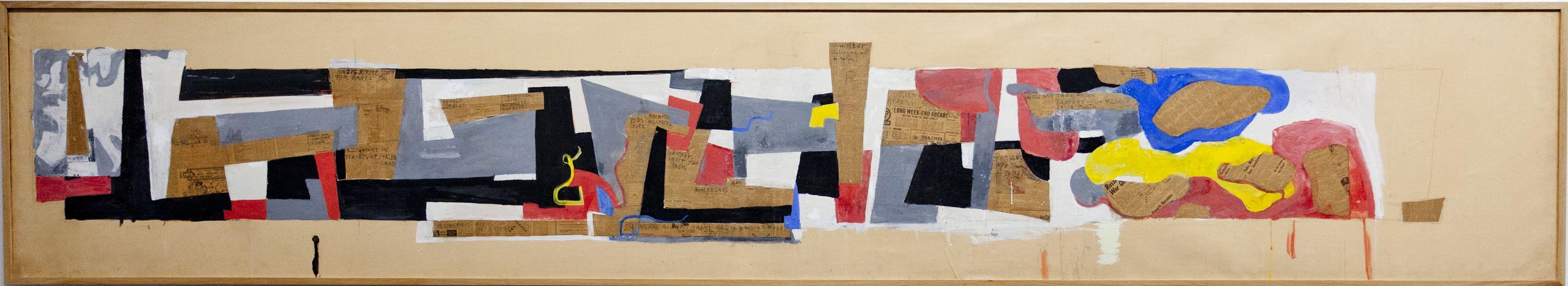 Hans Richter: Stalingrad (Sieg im Osten), 1943-1946 Tempera, Collage auf Papier über Leinwand, 94 x 512 cm