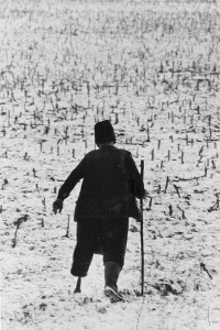 Ein Hirte in Szék mit Beinprothese aus Holz: Der Mann verlor sein linkes Bein im Zweiten Weltkrieg. (Szék/Sic, Rumänien, 1976)