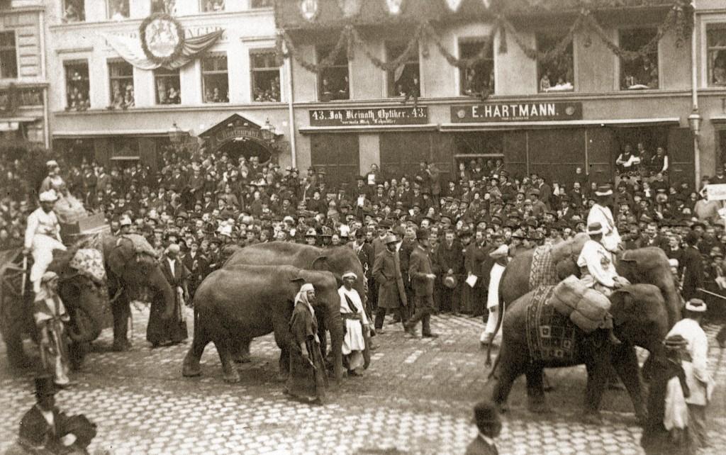 Die Elefanten der Kaufmannsgruppe im Festzug zur Centenarfeier, 1888.