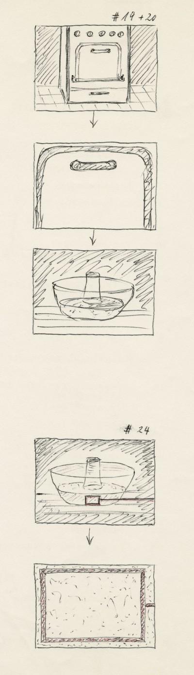 Skizzen von Fritz Brill zur Realisierung von Backszenen