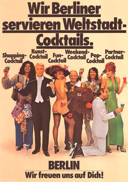 """Werbeplakat """"Wir Berliner servieren Weltstadt-Cocktails"""", 1974"""