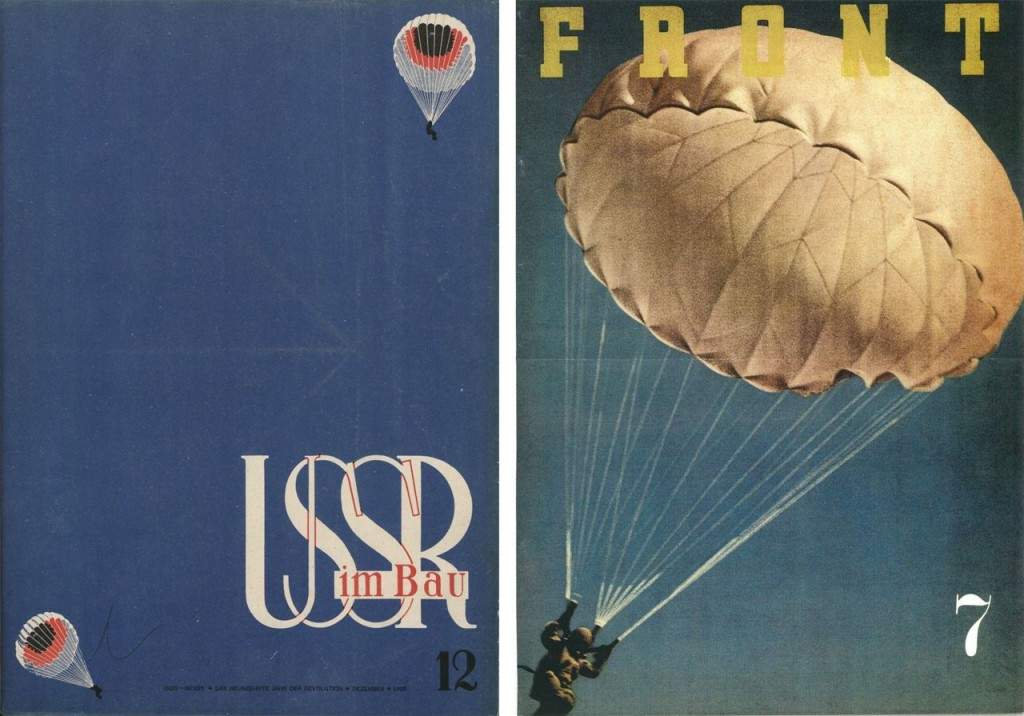 Left: SSSR na stroike (USSR in Construction), here the German edition (U[d]SSR im Bau), 1935, no. 12, ›Fearless Soviet Parachutists‹, cover page, original size ca. 412 x 300mm. Designed by Alexander Rodchenko and Varvara Stepanova © Right: FRONT, English edition, 1943, no. 7, ›Japanese Army Paratroop Units‹, cover page, original size A3. Designed by Hara Hiromu ©