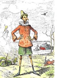 """Enrico Mazzanti, Holzstich in """"Le Avventure Di Pinocchio: Storia Di Un Burattino"""" von Carlo Collodi, Florenz, 1883. http://www.linguaggioglobale.com/Pinocchio/menu_pinocchio.htm. Lizenziert unter Gemeinfrei über Wikimedia Commons - https://commons.wikimedia.org/wiki/File:Pinocchio.jpg#/media/File:Pinocchio.jpg"""