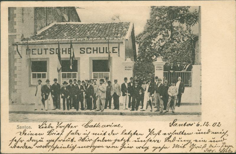 """Bildpostkarte """"Santos."""", gelaufen 1902, aus der Sammlung der SHMH/Altonaer Museum, Hamburg, Inv. Nr. 1995-139,1 © Foto: SHMH/Altonaer Museum, mit freundlicher Genehmigung"""