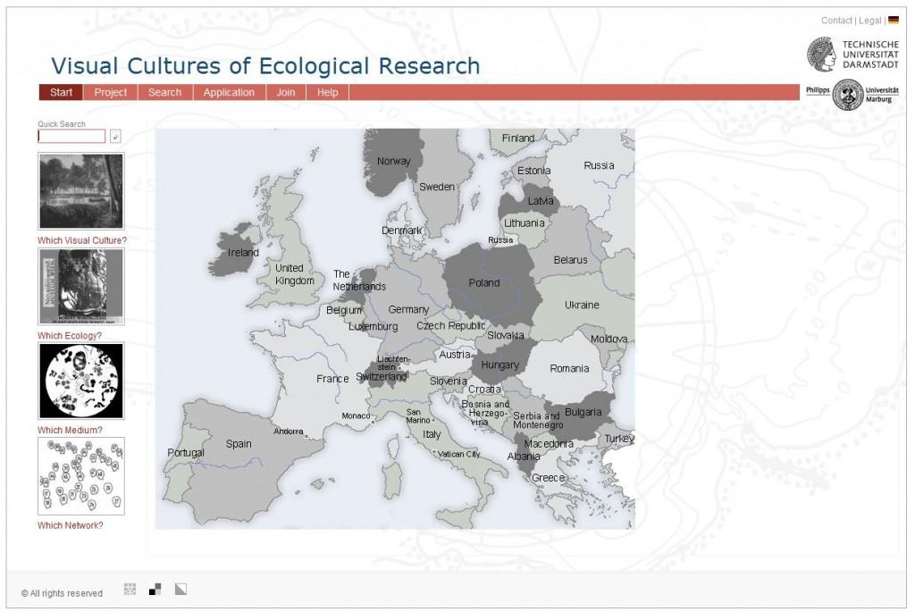 Screenshot Forschungsprojekt http://bildkulturen.online.uni-marburg.de/de/index