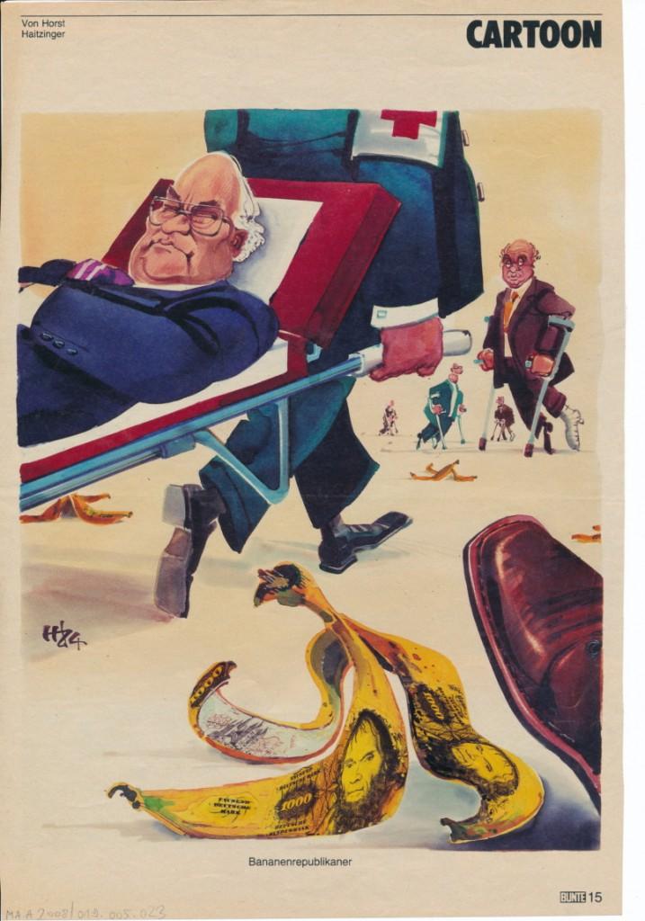Horst Haitzinger: Bananenrepublikaner, in: Die Bunte 1984, S. 15 © Horst Haitzinger, mit freundlicher Genehmigung