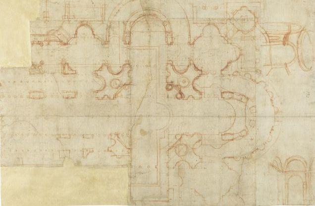 Donato Bramante, Plan für den Neubau von Neu-St. Peter, 1505, Florenz, Uffizien, Gabinetto dei Disegni e delle Stampe, inv. 20 A recto. Quelle: Palladio Museum Vicenza, Italien http://www.palladiomuseum.org/img/schede/379.jpg, Lizenz: gemeinfrei