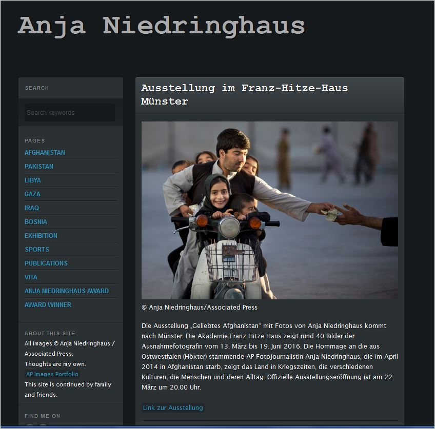 "Screenshot der Seite ""Anja Niedringhaus"": http://www.anjaniedringhaus.com/ All images © Anja Niedringhaus / Associated Press."