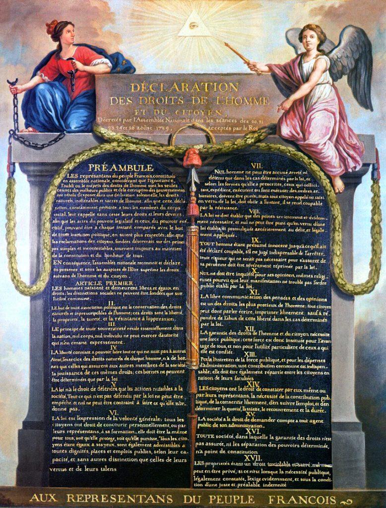 Jean-Jacques-Francois Le Barbier, Das Auge der Vorsehung über der französischen Erklärung der Menschen- und Bürgerrechte, 1789, Musée Carnavalet, Paris, gemeinfrei
