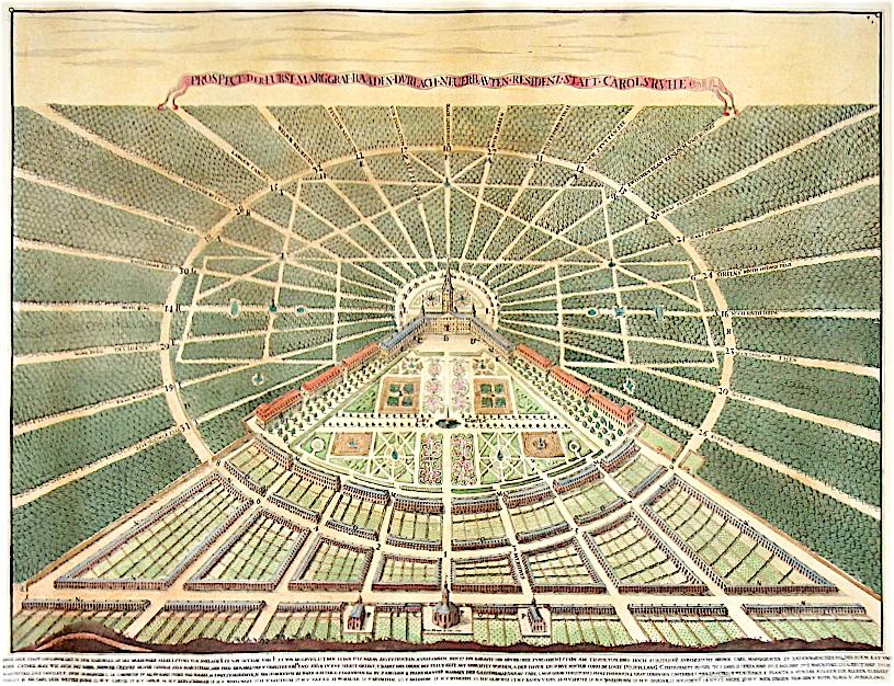 Stadtansicht Karlsruhe, Kupferstich von Heinrich Schwarz 1721, Quelle: Wikimedia Commons https://commons.wikimedia.org/wiki/File:Karlsruher_Stadtansicht.jpg?uselang=de, gemeinfrei