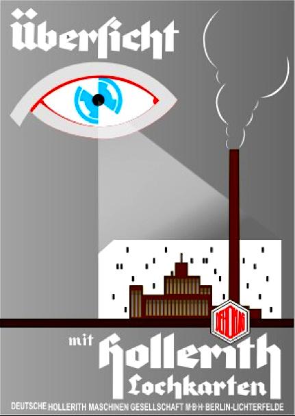 Plakat-Werbung 1933/34 der Firma Dehomag für Hollerith-Lochkarten, auf denen die Volkszählung von 1933 aufbereitet und ausgewertet wurde. Quelle: Slg. G. Paul ©