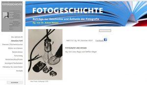"""Aktuelles Heft der """"Fotogeschichte"""": FOTOGRAFIE UND DESIGN"""