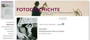 "Aktuelles Heft der ""Fotogeschichte"": WOZU GENDER?"